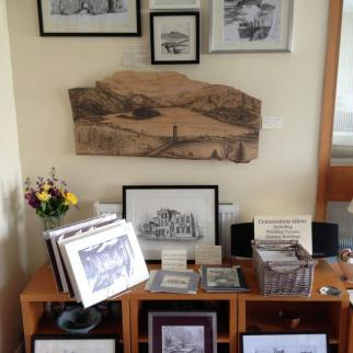 A variety of artwork on display