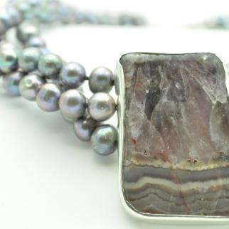 bespoke commission - pearl and agate/amethyst necklace