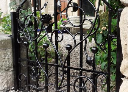 Decorative, hand forged gate.