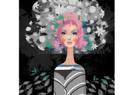 colour mono flowers girl head abstract digital realistic painted modern